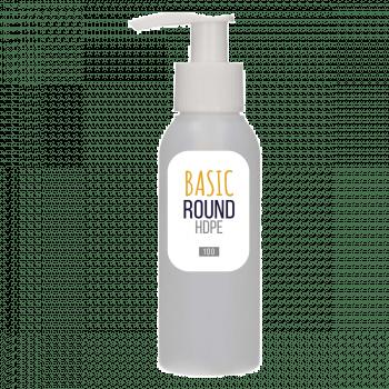 100 ml fles Basic Round HDPE naturel + Dispenserpomp PP wit