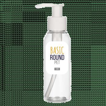 100 ml fles Basic Round PET transparant 24.410 + Dispenserpomp PP wit