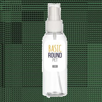 100 ml fles Basic Round PET transparant 24.410 + Spraypomp PP wit