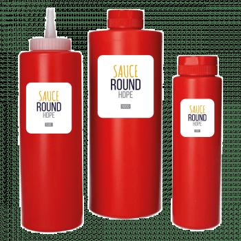Sauce fles HDPE rood