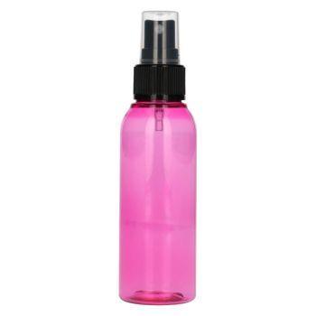 100 ml fles Basic Round PET roze + spraypomp zwart