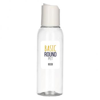 100 ml fles Basic Round PET transparant 24.410 + Disc-top PP wit