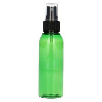 100 ml fles Basic Round PET groen + spraypomp zwart