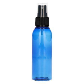 100 ml fles Basic Round PET blauw + spraypomp zwart
