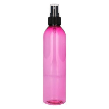 250 ml fles Basic Round PET roze + spraypomp zwart