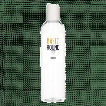 250 ml fles Basic Round PET transparant 24.410 + Disc-top PP wit