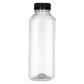 500 ml Juice Square PET transparant + Garantiedop zwart