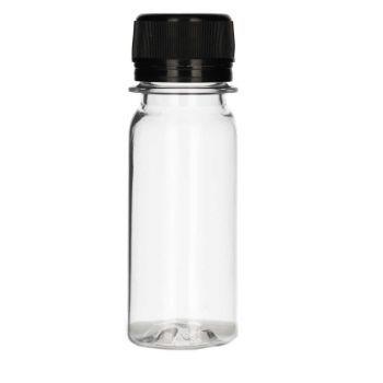 50 ml Juice mini shot PET transparant + Schroefdop zwart